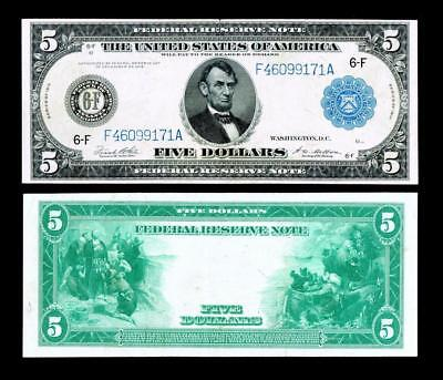 1914 $5  *** Large Size****Federal Reserve Note~~ALMOST UNCIRCULATED