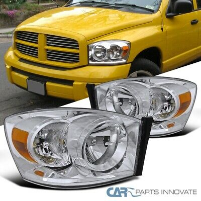 For Dodge 06-08 Ram 1500 2500 3500 Pickup Chrome Headlights Driving Lamps Pair