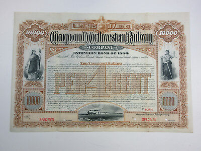 IL. WI. MI. Chicago & Northwestern Railway Co. 1886 Specimen Registered bond ABN