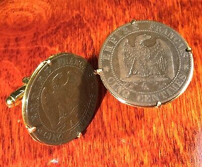 Antique 1854 Napoleon III French Imperial Eagle Bronze France Coin Cufflinks!!