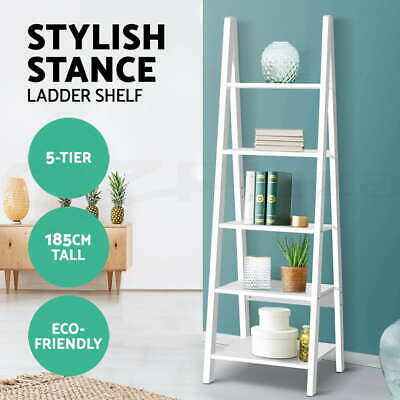 5 Tier Ladder Wall Shelf Stand Storage Bookcase Shelves Display Cabinet Shelving