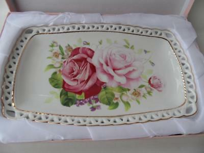 Boxed Floral Bone China Pink Roses Pierced Edge Cake High Tea Sandwich Tray