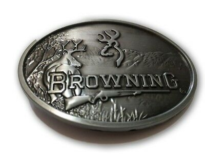 Browning Embossed Metal Browning Logo Belt Buckle Silver color Beautiful buckle