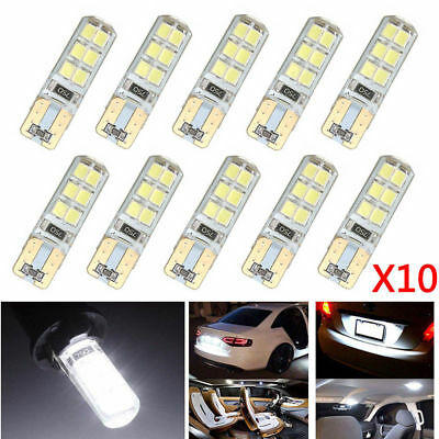 10x Car T10 W5W COB 2835 SMD 12 LED Canbus Bright License Plate Light Bulbs