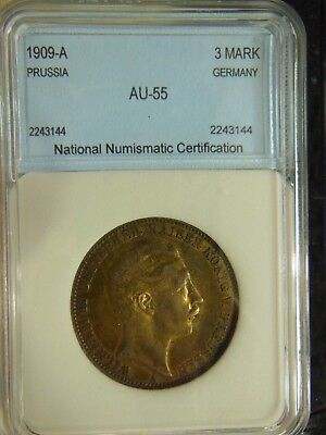 Germany-Prussia 1909A Silver 3 Mark-High Grade