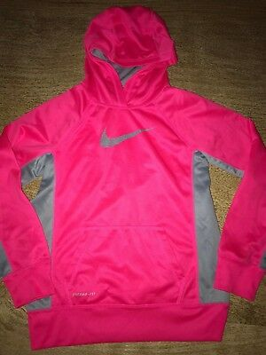 Nike Girls Large 12-14 Therma Fit Pull Over Hoodie Jacket Gray/Hot Pink EUC