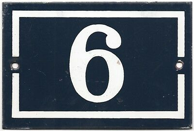 Old blue French house number 6 9 door gate plate plaque enamel steel metal sign
