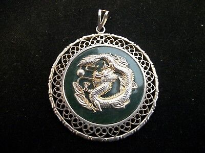 Sterling Silver Vintage Dragon Green Jade? Pendant, Very Nice, FREE SHIPPING