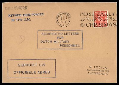 Netherlands Forces In The Uk Paddington Dec 3 1946 Single Franked Cover To Amste