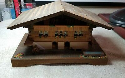 Swiss Music Jewelry Box Wood 1956 Wooden Vintage Works Awesome