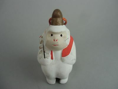 DR149 Japanese Clay Bell Pottery Monkey Shrine God Hand painted Ceramic Dorei