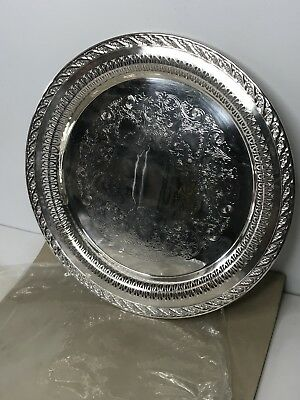 """Wm Rogers & Son Silver Plate Spring Flower 12"""" Serving Tray #2070 w/ Sleeve"""