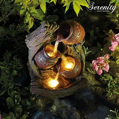 Serenity Water Feature Garden Cascading 3 Tipping Pot LED Lights Indoor Outdoor