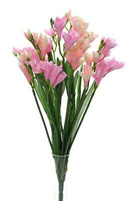 Bouquet of 12 Pink Freesia Stems - Pink -  Artificial Flowers - Look like Real