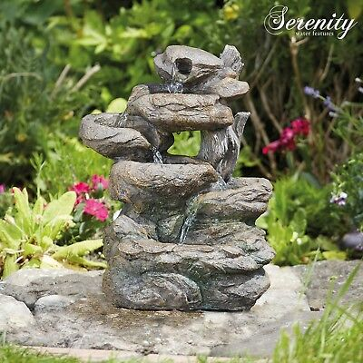 Serenity Rock Water Feature Garden Cascading LED Indoor Outdoor Ornament 33cm