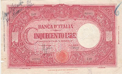 Italien 500 Lire - 23-08-1943 - Red, COUNTERFEITED, perforated FALSO