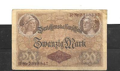 GERMANY GERMAN #48b 1914 20 MARK VG CIRCULATED OLD ANTIQUE BANKNOTE PAPER MONEY