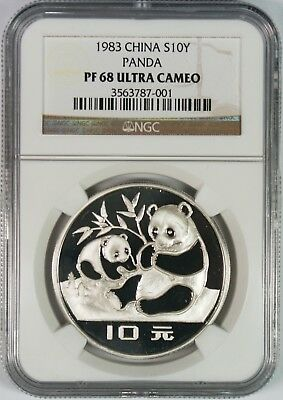 1983 China 10Y Silver Panda Coin NGC PF68 Ultra Cameo **First Year Type**