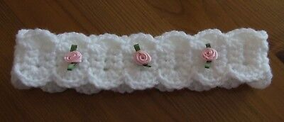 Handmade Baby  Headband White Rosebud Wedding Christening Baby Shower 0-3 Months