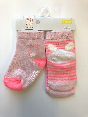 Carter's Just One You 2 pair Easter socks 6 -12 months pink striped with Bunny