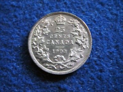 1903 Canada Silver 25 Cents - Choice About Uncirculated RARE - Free U S Shipping