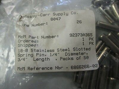 """McMaster-Carr 92373A365 Unused 8-8 SS 1/4"""" Dia, 3/4"""" Slotted Spring Pins QTY 40"""