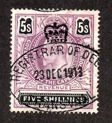 1913 CAPE OF GOOD HOPE late use Edward V11 5s Revenue stamp fine cancel