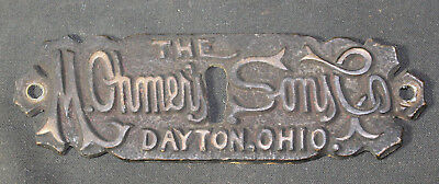 Antique Vintage M. Ohmer's Sons Co. Dayton Ohio Brass Cabinet Keyhole Cover