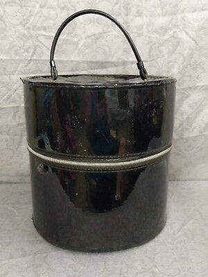 Vintage Hat Box Round Zippered carry on Luggage train case black retro vinyl old