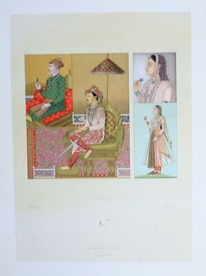 1880 - Tracht costumes Mogul Frauen women Indien India Lithographie lithograph