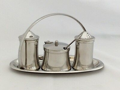 Fine Quality Vintage OLD HALL Patent Stainless Steel Condiment Set & Caddy