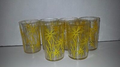Swanky Swigs Set Of 6 Yellow Juice Glasses Mid Century Modern