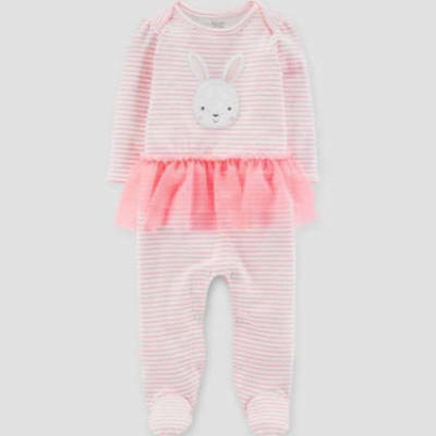 Newborn Just One You Carter's  Easter Outfit  footed romper  pink tutu bunny