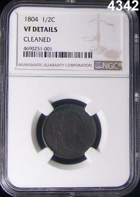1804 Half Cent Ngc Certified Vf Details Cleaned Very Nice Coin #4342