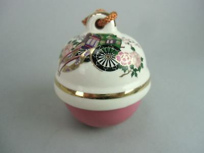 DR141 Japanese Bell Pottery Hot spring Gold Pink Hand painted Lucky Charm Dorei
