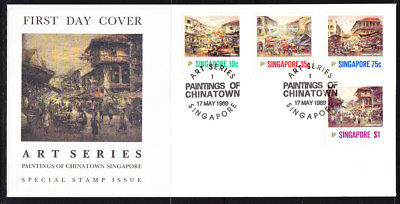 Singapore 1989 Chinatown Paintings First Day Cover Unaddressed