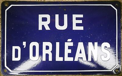 Old blue French street road sign plaque plate enamel name Orleans Elbeuf Rouen