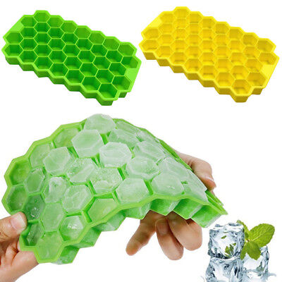 Honeycomb Shape Ice Cube 37 Cubes Ice Tray Ice Cube Mold Storage Containers NEW