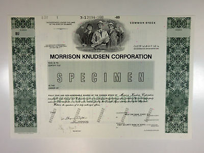 Morrison Knudson Corp., 1989 Specimen Certificate, Buillders of Hoover Dam, XF