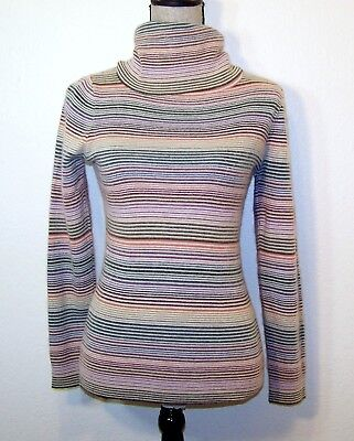 Vintage Womens Mohair Blend Multi-Color Long Sleeve Turtle Neck Sweather Size S