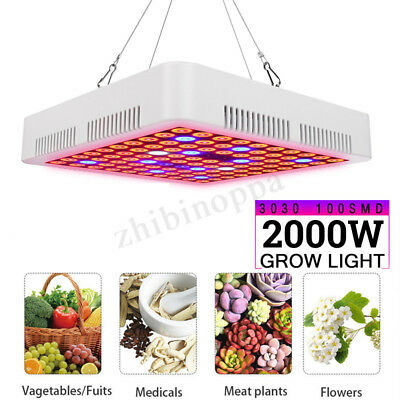2000W LED Grow Light Hydroponic Full Spectrum Indoor Veg Flower Plant Lamp Panel