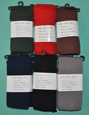 Girls School stocking Tights green grey red navy black brown Sz 5/6, 7/8, 9/12