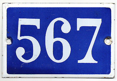Old blue French house number 567 door gate plate enamel sign steel metal plaque