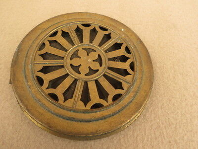 Antique German Pirced Brass Clock Back
