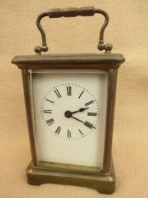 Antique French 8 Day Brass Carriage Clock For Spares Or Repair