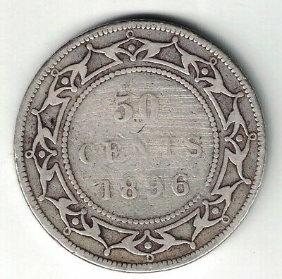 Newfoundland 1896 Large W 50 Cents Queen Victoria Sterling Silver Coin