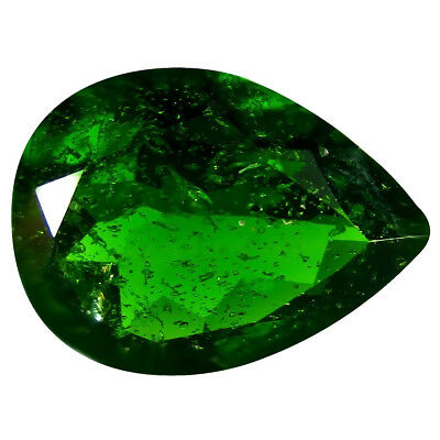3.20 ct AAA Tremendous Pear Shape (12 x 9 mm) Green Chrome Diopside Gemstone