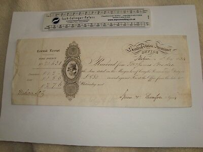 Scottish Union Insurance 1834 J.Brodie Fire Policy paper old receipt.Melrose ?