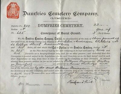 1893 Dumfries Cemetery Conveyance Of Burial Ground, For John Anderson Clithero