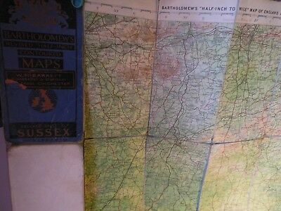 Sussex 1913-15: Antique Bartholomew Map-Topographic Colour- Old Railways
